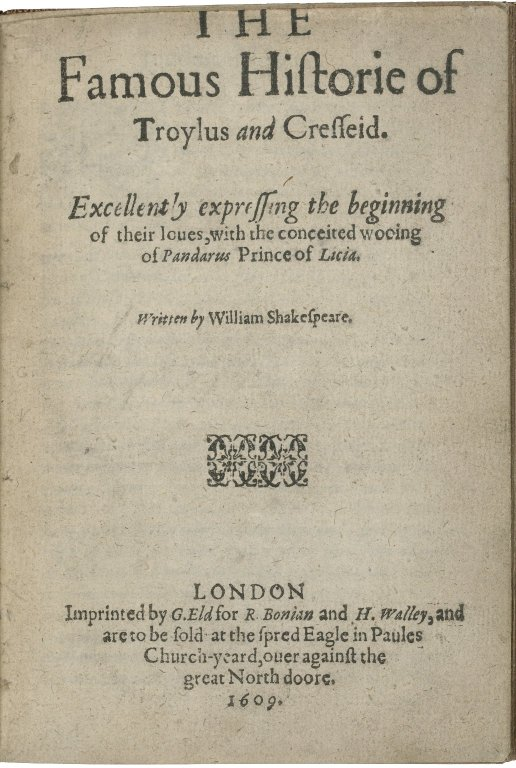 Folger Digital Image Collection: The famous historie of Troylus and Cresseid. 1609 title page
