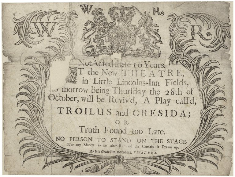 Folger Digital Image Collection: London, Lincoln's Inn Fields. Troilus and Cressida. Playbill, 1697