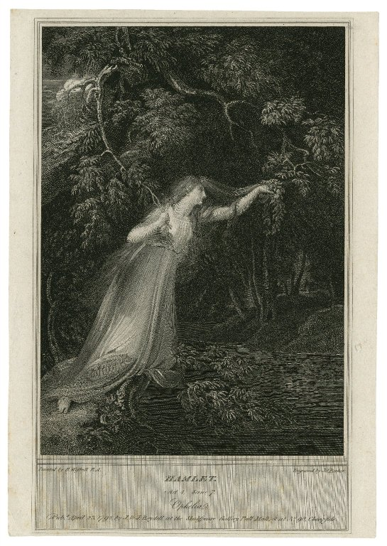 Folger Digital Image Collection: Hamlet, act 4, scene 7, Ophelia [graphic] / painted by R. Westall R.A. ; engraved by Jas. Parker.