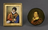 Miniature painting on ivory, c1800, George Frederick Cooke as Iago, Paper-mache circulat table snuff box, c1822, bust of Edmund Kean;