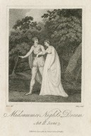 Midsummer night's dream [Lysander and Hermia] [graphic] : act II, scene 3 [i.e. 2] / Rivers, delt. ; Ridley, sculpt.