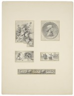 [Othello, five scenes: Three heads and leaf motif page decoration, medallion design of Roderigo's bust, fencing scene, Othello and man kneeling, and design for a metallic belt with lions heads] [graphic] / L.M.