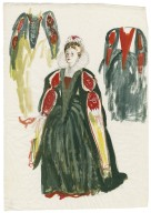 Lady Macbeth. Sheet of three sketches for green costume