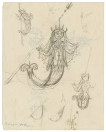 Sketches of an emblem for the Mermaid theatre