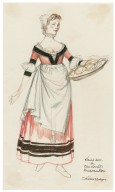 Design for waitress dress (with apron) for Robin Howard's Elizabethan Rooms
