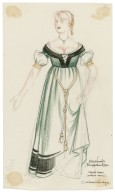 Design for waitress dress (without apron) for Robin Howard's Elizabethan Rooms