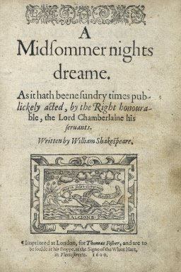[Midsummer night's dream] A midsommer nights dreame.