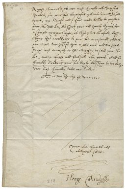 Letter from Henry Cavendish, Tutbury, Staffordshire, to Elizabeth Hardwick Talbot, Countess of Shrewsbury