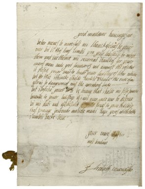 Letter from Elizabeth Stuart, Countess of Lennox, to Elizabeth Hardwick Talbot, Countess of Shrewsbury, Hardwick