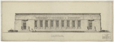 "Architectural Drawing of Proposed Elevation: E. Capitol St. Facade, Preliminary Eighth Inch Scale Study, by WHL, no.1. 38""x13.5""."