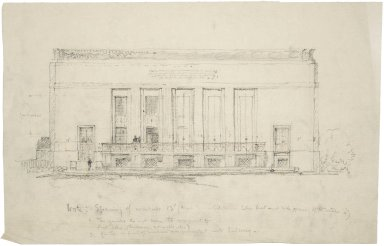 "Architectural Drawing of Proposed Elevation: [West Elevation] 19.5""x12.5"""