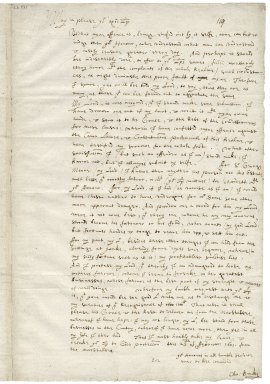 Autograph letter from Christopher Brooke, Marshalsea Prison, to Sir Thomas Egerton [manuscript], 1601/1602 February 25.
