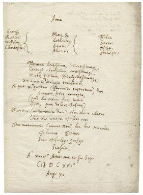 Epitaph for Anne Donne [manuscript], 1601/1602 February 2.