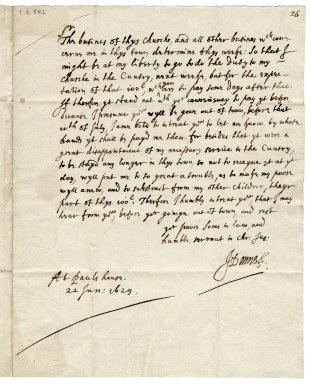 Autograph letter signed from John Donne, St. Paul's, London, to Sir George More [manuscript], 1629 June 22.