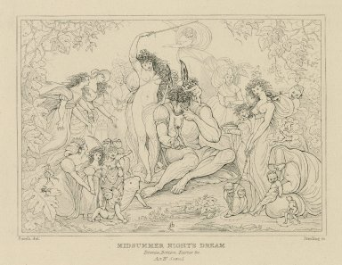 Midsummer night's dream : Titania, Bottom, fairies &c., act IV, scene I [graphic] / [Henry] Fuseli del. ; [William Francis] Starling sc.