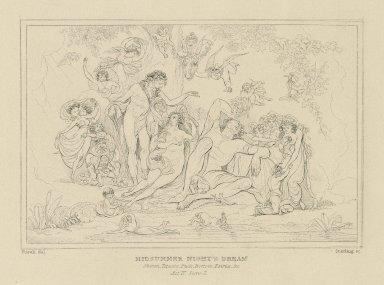 Midsummer night's dream : Oberon, Titania, Puck, Bottom, Fairies. &c., act IV, scene I [graphic] / Fuseli del. ; Starling sc.