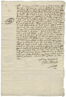 Autograph letter signed. To Mr. Gresham at Fulham, May 7, 1610