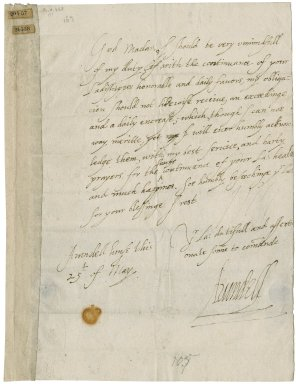 Letter from Thomas Howard, Earl of Arundel, Arundel House, to Elizabeth Hardwick Talbot, Countess of Shrewsbury, Hardwick