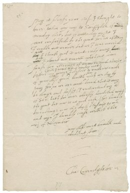 Letter from Sir Charles Cavendish, Welbeck, Nottinghamshire?, to Elizabeth Hardwick Talbot, Countess of Shrewsbury