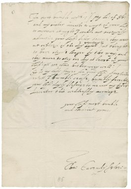Letter from Sir Charles Cavendish, Leicester, to Elizabeth Hardwick Talbot, Dowager Countess of Shrewsbury, Hardwick