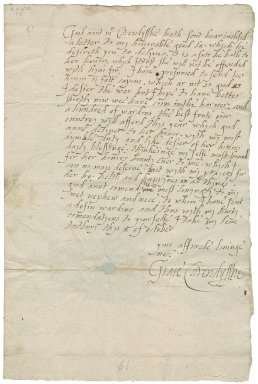 Letter from Grace Cavendish, Tutbury, Staffordshire, to Jane Kniveton