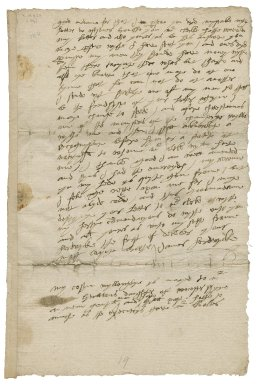 Letter from James Hardwick, Hardwick, to Lady Elizabeth St. Loe