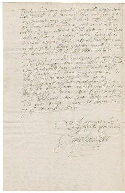 Letter from James Montagu, the court at Whitehall, to Elizabeth Hardwick Talbot, Countess of Shrewsbury, Hardwick