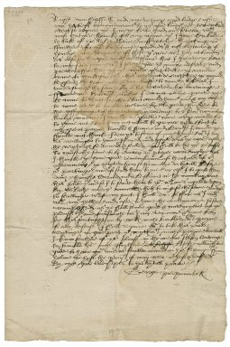 Letter from Sir George Pierrepont, Holme, Pierrepont, Nottinghamshire, to Elizabeth Hardwick Talbot, Countess of Shrewsbury, Chatsworth