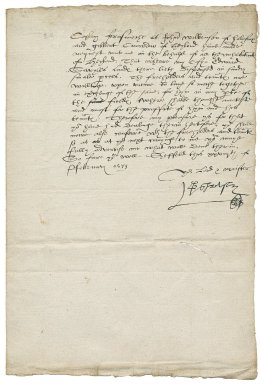 Letter from George Talbot, Earl of Shrewsbury, Sheffield, to Avery Copley, Batley, Yorkshire