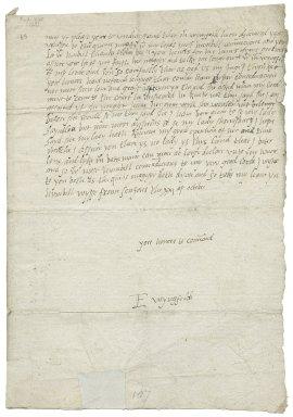 Letter from Elizabeth Wingfield, St. John's (SenIons), London, to Elizabeth Hardwick Talbot, Countess of Shrewsbury