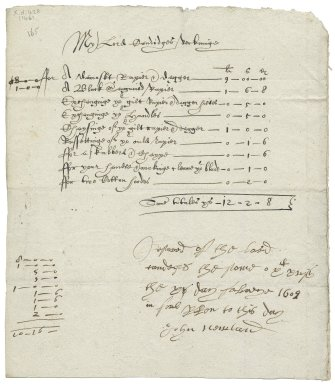 Bill and receipt from John Newland, cutler, to William Cavendish, Earl of Devonshire