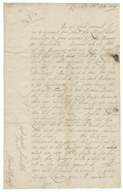 Letter from Humphrey Bagaley, Knowsley, Lancashire, to Sir Thomas Wentworth, bart., Bretton