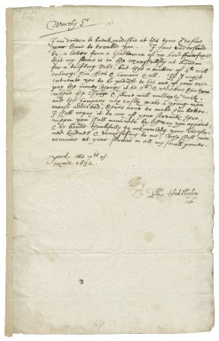 Letter from John Hutchinson, York, to Sir Henry Slingsby?