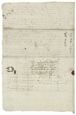 Letter from Robert Norton to Sir Henry Slingsby, at Master Park's house in Fetter Lane, London.