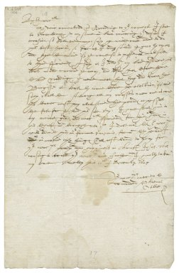 Letter from Phanuell (i.e. Phatuel) Otby, Staveley, Yorkshire, to Sir Henry Slingsby, vice-president of the Council of the North