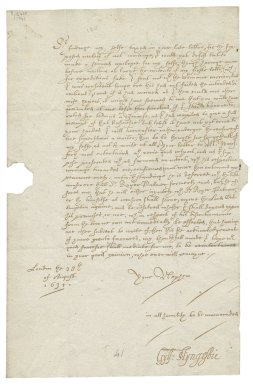 Letter from Guilford Slingsby, London, to Sir Henry Slingsby, Red House, Yorkshire