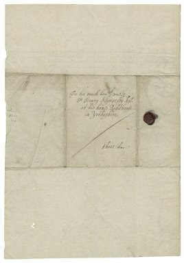 Letter from Guilford Slingsby, Dublin Castle, to Sir Henry Slingsby, Red House, Yorkshire
