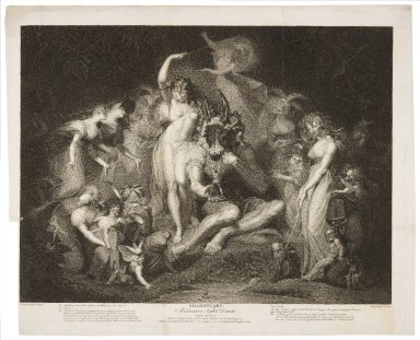 Midsummer night's dream, act IV, scene I, a wood -Titiana [sic] ... Bottom, fairies attending ... [graphic] / painted by H. Fuseli ; engraved by I.P. Simon.