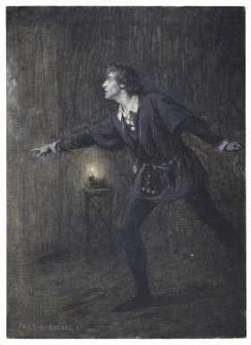"[Hamlet, I, 5, as performed at the Adelphi, Ham.: ""Where wilt thou lead me?"" H.B. Irving (Hamlet)] [graphic] / Chas. A. Buchel."