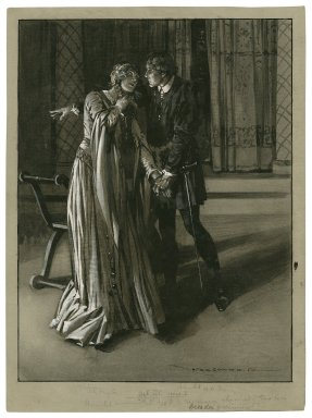 "[Hamlet as performed at the Adelphi Theatre] Ophelia, Lily Brayton, Hamlet, H.B. Irving, act III, scene 1, Hamlet: ""Get thee to a nunnery, why would'st thou be a breeder of sinners?"" [graphic] / Max Cowper."