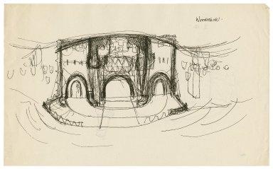 "Preliminary set design sketch for ""Woodstock"" (Anon.)"
