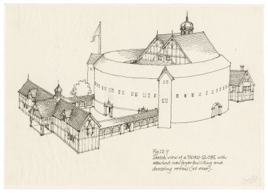 "Illustration for promotion brochure of the proposed reconstructed Globe with its ancillary buildings, for the ""Shakespeare's Globe in America"" project in Detroit"