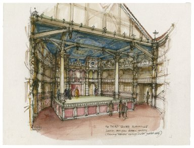 Sketch interior of Detroit Globe reconstruction