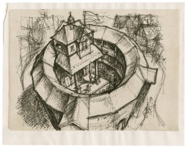 Sketch of the Globe Playhouse, aerial view