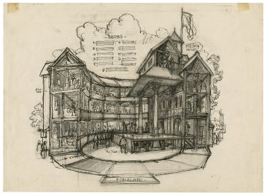 Cutaway view sketch of the Globe Playhouse