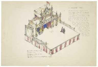 "Project for ""A Shakespeare Stage"" for the open air: drawing of the stage and 'tiring house' arrangement viewed from above"