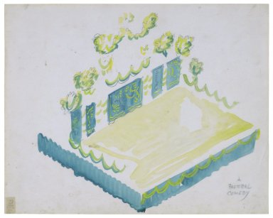 Transparency overlay for ART Box H688 no.10.3 pt.1 showing stage setting for a comedy