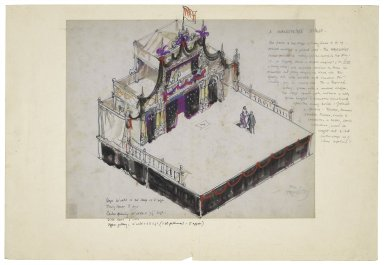 """Drawing for """"A Shakespeare Stage"""" with overlay for tragedy stage setting"""