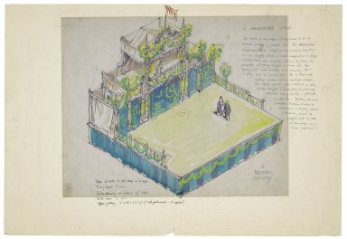 "Drawing for ""A Shakespeare Stage"" with overlay for comedy stage setting"
