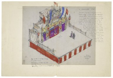 "Drawing for ""A Shakespeare Stage"" with overlay for history stage setting"
